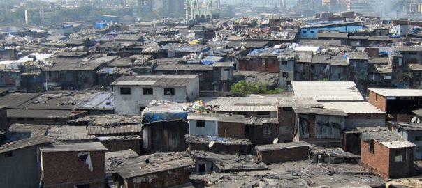 Landscape of urban slums in Mumbai, India